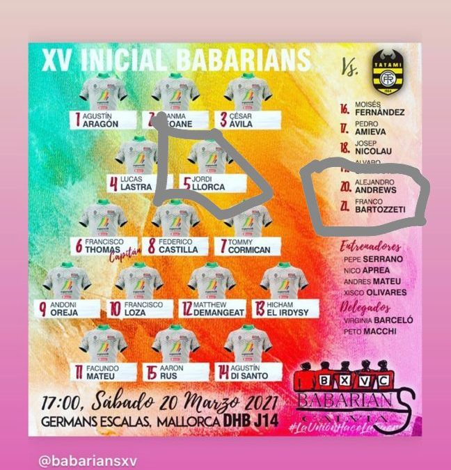 Jornada 14 División de Honor B, BABARIANSXVCALVIÁ VS. TATAMI RUGBY